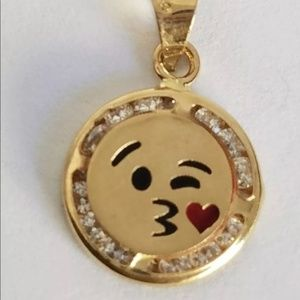14k Gold Emoji Blowing Kiss Love Pendant Charm